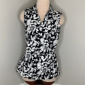 Talbots Faux Wrap Collared Sleeveless Top Size 10